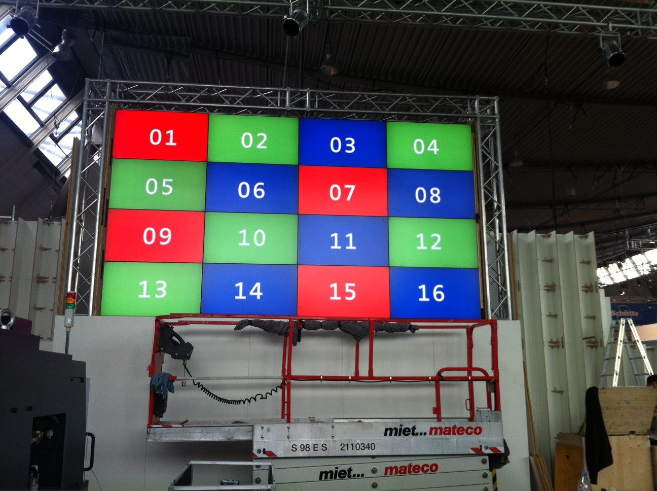 Videowand steglos 4x4 Meter