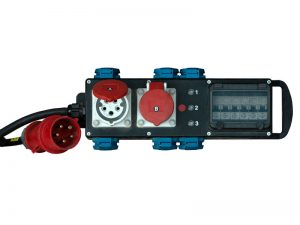 Mobile Strom-Unterverteilung mit Anschluss 32A CEE-Rot; 2x 16A CEE-Rot. 6x Schuko (LS) mieten