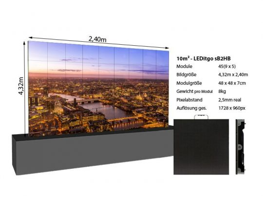 LED Wand 4,32x2,40m 10qm - LEDitgo 2,5-details